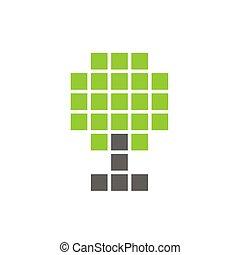 pixel, plante, træ, illustration, symbol, vektor, digitale, logo, konstruktion, ikon