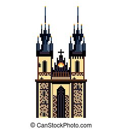 Pixel Prague Tyn Church city symbol detailed illustration isolated vector