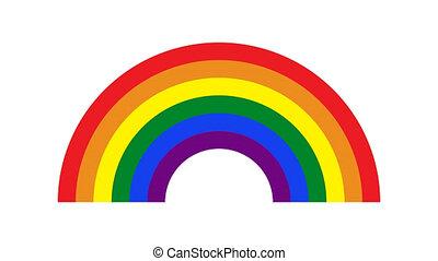 pixel Rainbow Gay Rainbow or LGBT. Rainbow Pride symbol on glitch old screen display animation. Retro, colorful video footage, 4K