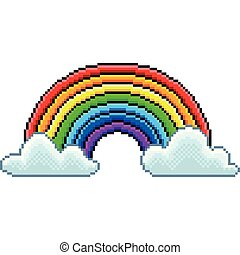 Pixel rainbow with clouds isolated vector