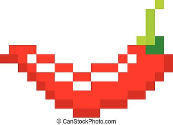 Pixel red hot pepper art cartoon retro game style