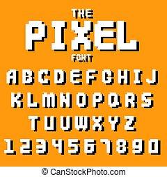 Pixel retro font video computer game design 8 bit letters...
