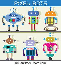 Pixel Robot - easy to edit vector illustration of pixel...