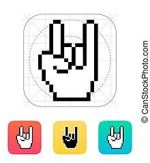 Pixel rock hand icon.