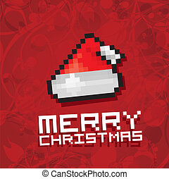 Pixel santa claus red hat