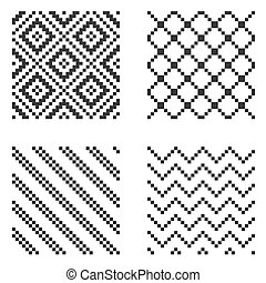 Pixel Ethnic Seamless Pattern Set. Vector illustration