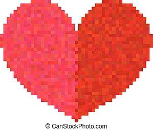 pixel, serce, biały, odizolowany, tło.