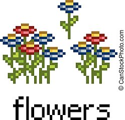 Pixel set flowers