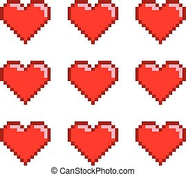 Pixel set hearts