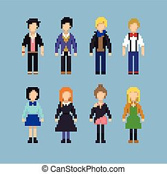 Pixel Set of Hipster People