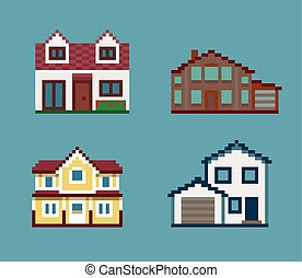 Pixel Set of Houses