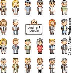 Pixel set of people - Pixel set of smiling people for games...