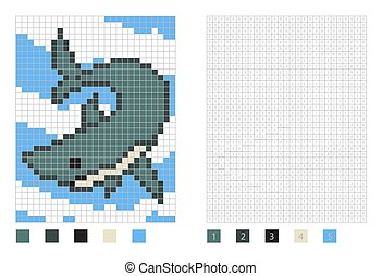 Pixel shark cartoon in the coloring page with numbered squares