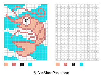 Pixel shrimp cartoon in the coloring page with numbered squares