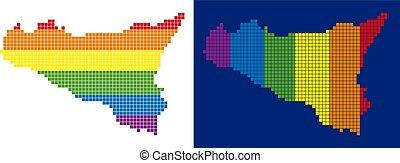 pixel, sicilia, spectre, pointillé, carte