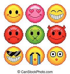 Pixel smileys for games icons vector set