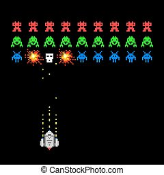 Pixel space invader game - Cosmic invaders game. Pixel space...