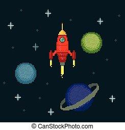 Pixel spaceship in starry space - Pixel spaceships in space...