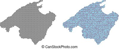Pixel Spain Mallorca Island Map Abstractions - Dotted Spain...