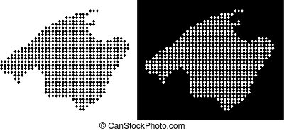 Pixel Spain Mallorca Island Map - Vector rhombic dot Spain...