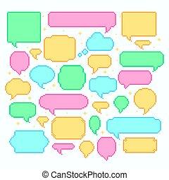 Pixel speech bubbles. Talk and communication message 8-bit