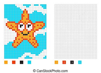 Pixel starfish cartoon in the coloring page with numbered squares