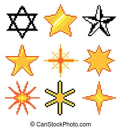 Pixel stars for games icons vector set
