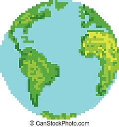 Vector illustration pixel style of planet earth isolated on white background