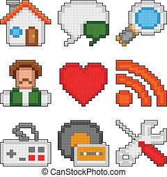 pixel, teia, icons.