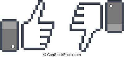 pixel  thumb up 8 bit icon  like and dislike
