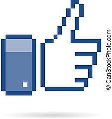 pixel  thumb up 8 bit icon