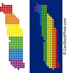 pixel, togo, spectre, pointillé, carte