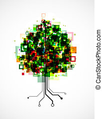 Pixel tree - Concept image of a technology tree, with pixels...
