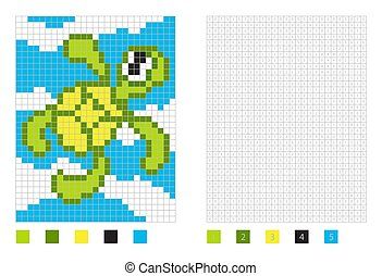 Pixel turtle cartoon in the coloring page with numbered squares