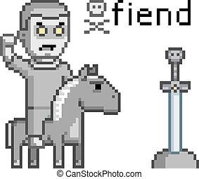 pixel, umění, nepřítel, válečník, dále, jeden, kůň