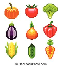 Pixel vegetables for games icons high detailed vector set
