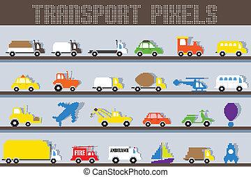 Pixel Vehicle - easy to edit vector illustration of pixel ...