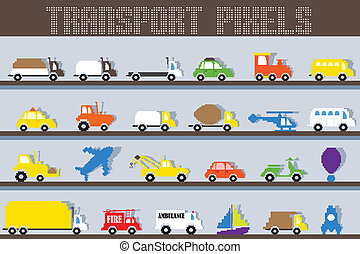 Pixel Vehicle - easy to edit vector illustration of pixel...