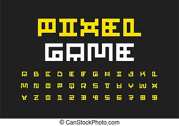 Pixel video game retro style font