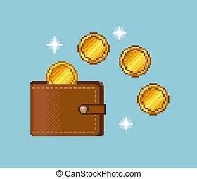 Pixel Wallet and Gold Coins Icon on blue