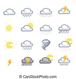 Set of pixelated weather icons
