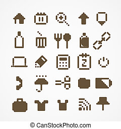 Pixel web icons collection. set 3