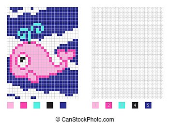 Pixel whale cartoon in the coloring page with numbered squares