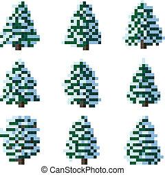 Pixel winter snowy tree.