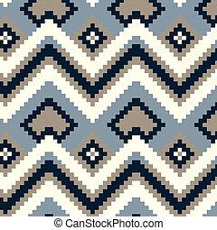 Pixel zig-zag seamless vector pattern