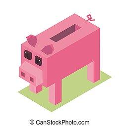 pixelate, 等大, 貯金箱, 農場, イラスト, 豚, ベクトル, 小豚, 動物, 漫画, 3d