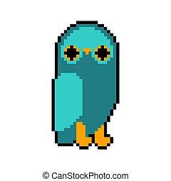 pixelate, búho, bit., pixel, 8, eagle-owl, pájaro, art.