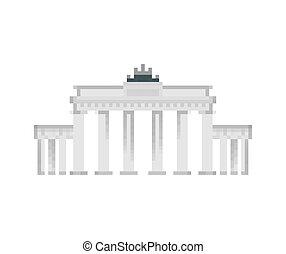 pixelate, bit., スタイル, 古い, brandenburg, ベルリン, 16bit., showplace, ゲーム, コンピュータ, ドイツ, グラフィックス, ランドマーク, 8, ピクセル, 門, art.