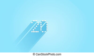 pixelated 2016 sign flat style animation with long shadows
