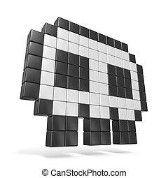 Pixelated 8bit skull icon. Side view. 3D render illustration...